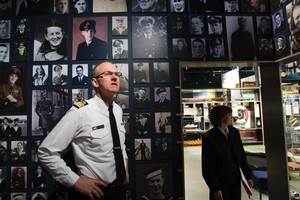 Commander David Wright inside a room at the Navy Museum dedicated to sailors who lost their lives. Photo / Paul Estcourt