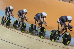 The NZ pursuit team of Sam Bewley, Westley Gough, Marc Ryan and Jesse Sergent during the gold-medal race at the velodrome. Photo / Brett Phibbs