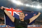 Shot putter Valerie Adams got the golden business done for New Zealand. Photo / Brett Phibbs