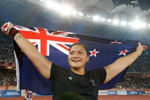 Shot putter Valerie Adams got the golden business done for New Zealand. Photo / Brett Phibbs