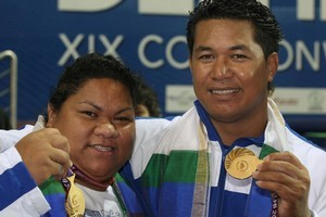 Ele Opeloge and her brother Niusila Opeloge won back-to-back golds in weightlifting for Samoa. Photo / Brett Phibbs