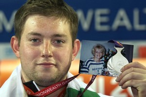 Weightlifter Stanislav Chalaev dedicated his silver medal to his mother, Larissa Reid. Photo / Brett Phibbs
