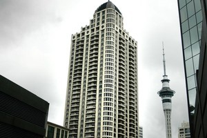 Auckland's Metropolis building, Andrew Krukziener's most ambitious property project. Photo / Doug Sherring
