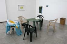 Dan Arps' table and chair installation, part of Explaining Things. Photo / Natalie Slade
