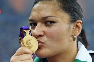 Valerie Adams celebrates with her gold medal. Are there more to come for the New Zealand team? Photo / Getty Images