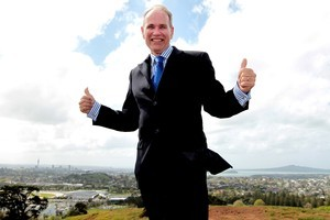New Auckland Supercity mayor Len Brown celebrated his win on top of  One Tree Hill with his family and iwi leaders, and becomes a very powerful player in New Zealand. Photo / Doug Sherring