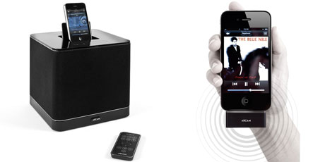 The Arcam rCube, left, is an iPod boombox with great sound, wireless technology and a rechargable battery, set to revolutionise the market. Photo / Supplied