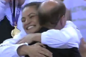 Temepara George hugs Prince Edward after the Silver Ferns' extra-time win over Australia. Photo / Supplied