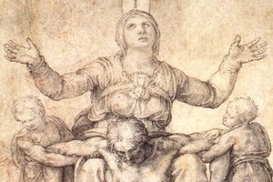 A drawing of the 'Pieta' of Mary holding Jesus at St Peter's Basilica in Rome, which may have inspired this newly-discovered painting.