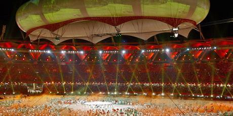 Performers launch the Closing Ceremony for the Delhi 2010 Commonwealth Games at Jawaharlal Nehru Stadium. Photo / Getty Images