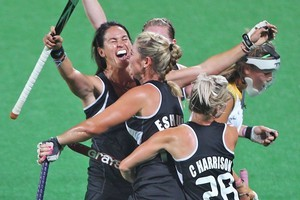 The Black Sticks react after scoring against South Africa. Photo / Getty Images