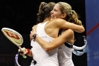 Jaclyn Hawkes, right, and Joelle King of New Zealand embrace after winning the women's doubles final. Photo / Getty Images