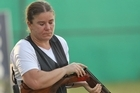 Nadine Stanton of New Zealand competes in the Womens Singles Trap final at the Dr Karni Singh Shooting Range. Photo / Getty Images