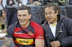 Sonny Bill Williams (L)sits with Tana Umaga of Counties Manukau. Photo / Getty Images