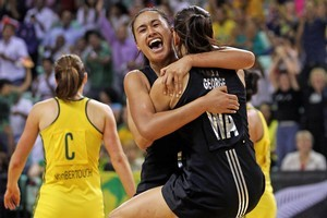 Maria Tutaia and Temepara George of New Zealand celebrate winning the Women Finals Gold medal match. Photo / Getty Images