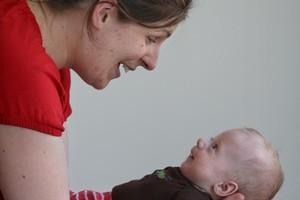 Lindsey Hurley with Ernie at 11 weeks. Photo / Natalie Slade