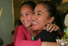 Maria Tutaia and her niece Adriana at Auckland Airport. Photo / Robert Trathen