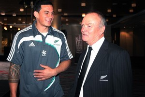 All Black Sonny Bill Williams (left) and All Black Coach Graham Henry after the announcement of the All Black squad last night. Photo / Sarah Ivey