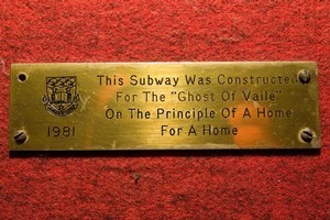 The University of Auckland subway plaque may refer to a land purchase. Photo / Richard Robinson