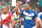 Tony Puletua of Samoa celebrates his try. Photo / Getty Images