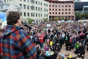 Weta Workshop's Sir Richard Taylor addresses the rally in Wellington's Civic Square in support of making The Hobbit films in New Zealand. Photo / NZPA