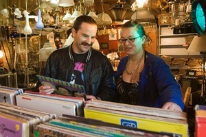 Nick Fracture and Nadia Poole browse the vinyl records for sale at one of their favourite shops, Just Plane Interesting. Photo / Paul Estcourt