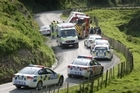 Two cars collided on Kaikokopu Road yesterday, 10km north of Wanganui. Photo / Wanganui Chronicle