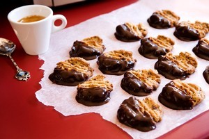 Choc-dipped mocha cookies. Photo / Babiche Martens