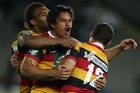 Trent Renata of Waikato celebrates after kicking the winning goal during the ITM Cup Semi Final. Photo / Getty Images