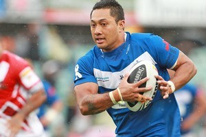 Quentin Togaga'e of Samoa heads for the try line during the international friendly match against Tonga in the weekend. Photo / Getty Images