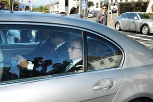 Warner Brothers executives arrive to meet with Prime Minister John Key and other ministers at Premier House. Photo / NZPA