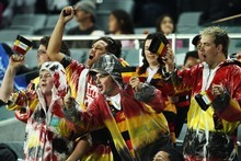 Waikato fans celebrate their win. Photo / Getty Images