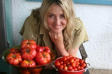 Libby Nicholson-Moon with her tomato crop. Photo / Bruce Nicholson