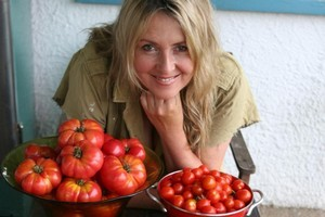 Libby Nicholson-Moon with her tomato crop. Photo / Bruce Nicholson