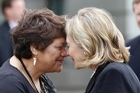 Hillary Clinton and Rose Tahuparae White hongi. Photo / Mark Mitchell