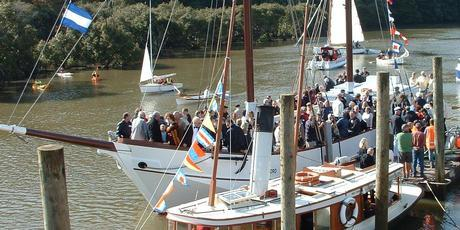 The restored scow Jane Gifford now takes tourists for sails up the Mahurangi River. Photo / Supplied