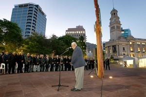 Takutai Wikiriwhi, along with other Maori elders, giving prayers and speeches early this morning at the dawn blessing of Aotea Square. Photo / Steven McNicholl