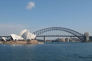 The Sydney Opera House and the Harbour Bridge, as seen from Mrs Macquarie's Point. Photo / Jill Worrall