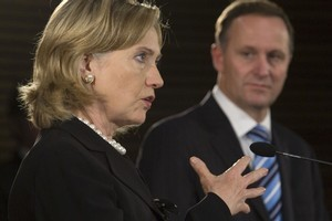 US Secretary of State Hillary Clinton and Prime Minister John Key. Photo / Mark Mitchell