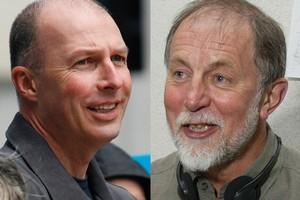 New Morning Report co-presenter Simon Mercep with Geoff Robinson. File photos / Glenn Jeffrey, Mark Mitchell
