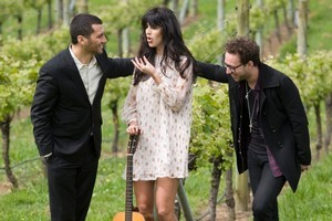 Opshop's Jason Kerrison, Brooke Fraser and Midnight Youth's Jeremy Redmore hit the bottle early. Photo / Richard Robinson