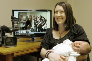 Zoe Hobson and her 4-week-old daughter, Abigail. Abigail will have a cameo part in her mother's zombie film. Photo / Otago Daily Times/Jane Dawber
