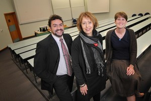 Jarrod Haar (left), Juliet Roper and Eva Collins. Photo / Ted Baghurst