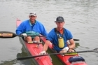 Nic Riosa (L) and Andrew Newick paddled 2800km along the Danube, through eight countries. Photo / Supplied