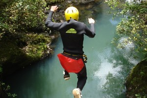 Canyoning in the Waitakere Ranges with AWOL Canyoning Adventures. Photo / Supplied