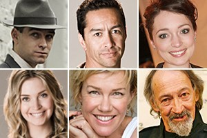 Clockwise from top left: Antony Starr, Kirk Torrance, Antonia Prebble, Frank Whitten, Robyn Malcolm and Siobhan Marshall. Photos / Supplied, NZH
