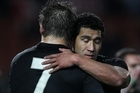 McCaw congratulates Muliaina after winning the test match between the All Blacks and Wales. Photo / Getty Images
