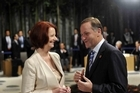 John Key chats with Australian Prime Minister Julia Gillard. Photo / Supplied