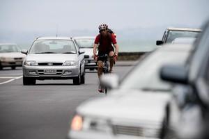 Martin Johnston braves Tamaki Drive, where he had two close calls. Photo / Dean Purcell