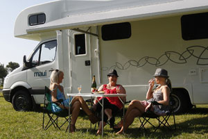 Chilling out at Tatapouri-By-The-Sea campground. Photo / Sarah Ivey